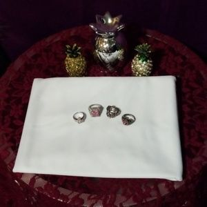 Pink stone ring set